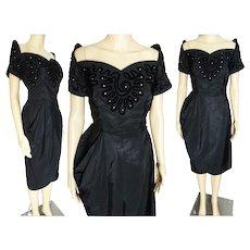 Vintage 1940s Dress | 40s Black Dress Soutache & Rhinestones | Off Shoulder Sleeves | Wiggle Cocktail Dress