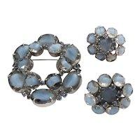 Blue Rhinestone Art Glass Kramer Brooch & Matching Clip Earrings