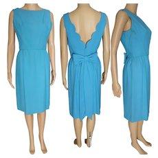 Blue 50s Dress / 1950s Blue Wiggle Cocktail Dress / Scalloped Back / Designer