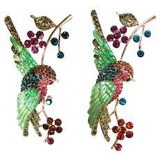 Illustrious RHINESTONE BROOCH / Swallow Bird Brooch / Rhinestone Bird Brooch / Floral