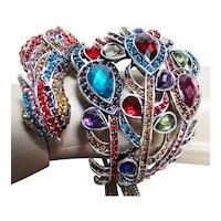 Big Rhinestone Bracelet / Peacock Bracelet / Multi Colored Rhinestones