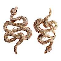 GORGEOUS Rhinestone Snake Brooch Big
