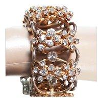 SPARKLING Vintage 1950s Rhinestone Bracelet | Clear Rhinestones | Gold Tone Setting
