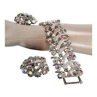 Aurora Borealis Rhinestone Bracelet / Matching Earrings / Jewelry Set/ Vintage Parure