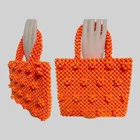 Vintage 1950s Purse Handbag Orange Beaded Made in Italy
