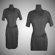 Vintage 1950s Dress  .  Designer  .  Allen Peck New York  .  Black Eyelet .  Hourglass