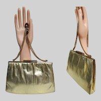 Vintage 1950s Metallic Gold Purse, 50s Designer Ande Handbag