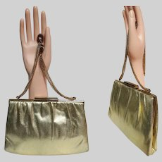 Vintage 1950s Metallic Gold Purse, 50s Designer Ande Handbag