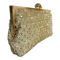 1950s Shimmering Gold Rhinestone Clutch Marked Walborg Rhinestone Clasp