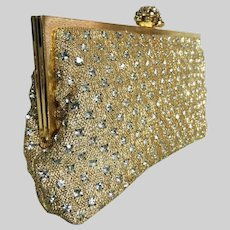 1950s Shimmering Gold Rhinestone Clutch Marked Walborg Rhinestone Clasp