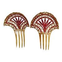 1930s Art Deco Hair Comb | Fan Shape Hair Ornament | Red Rhinestone