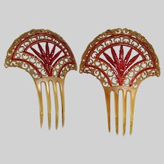 1930s Art Deco Hair Comb | Fan Shape Hair Ornament | Red Rhinestone