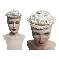 1940's French Silk Bridal Veil Head Piece, Made in France, 1930s Wedding Crown