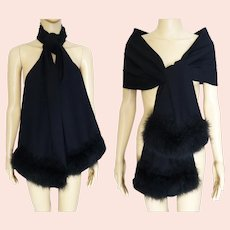 Vintage Black Shawl Trimmed in Marabou Feathers