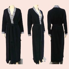 Vintage Vanity Fair Robe | Dressing Gown | Tags Attached | Black With Leopard Trim | Size Medium