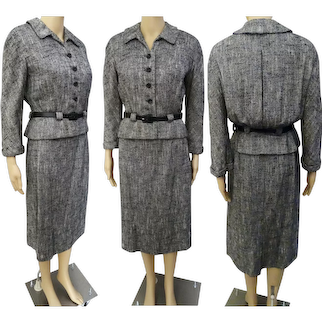 Vintage 1950s Designer Suit | Black & White Tweed 50s Suit | 1950s Tailored Jacket and Skirt