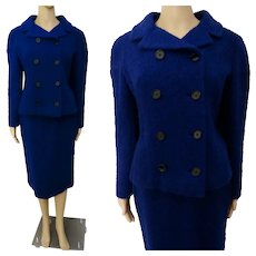 Vintage 1950s Suit from Peck & Peck / Double Breasted Nubbed Wool / Two Piece Suit / Royal Blue / Skirt and Jacket