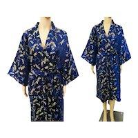 Kimono / Japanese clothing /Royal Blue Silk Kimono robe / Metallic Dragonflies / Kimono dress /