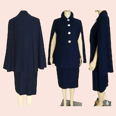 Vintage 1940s Suit | Ann Fogarty Suit | Matching Cape and Skirt | Spectacular Dark Navy Blue 40s Suit, Shoulder Pads