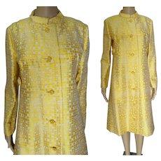 1950s Yellow Gold Metallic Evening Coat | Harold Levine Original | Rhinestone Buttons