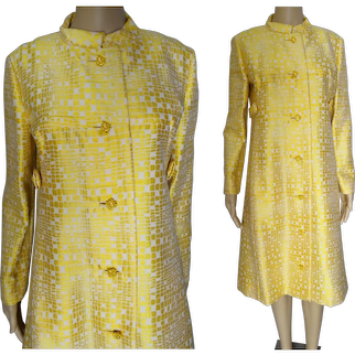 1950s Yellow Gold Metallic Evening Coat | Harold Levine Original | Rhinestone Buttons