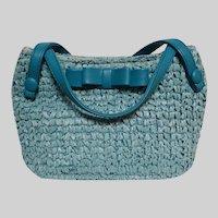 Vintage 1950s Aqua Straw Raffia Purse / Handbag / 50s Aqua Raffia Purse / Unique Bow Ornamentation