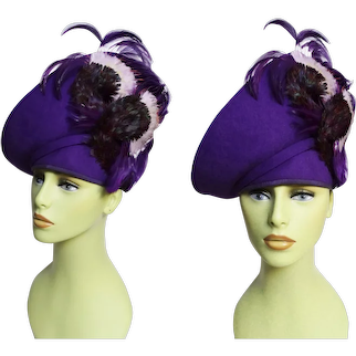 Jack McConnell Hat, Showstopper, Purple Feather Plume, Nior Femme Fatale Hat