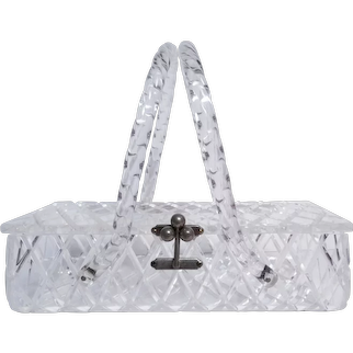 DIAMOND Pattern 1950s Crystal Clear Lucite Purse