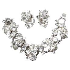 Vintage D&E Juliana Clear Rhinestone Large Dimensional Link Bracelet and Clip Earrings Set