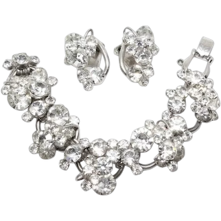 Vintage D&E Juliana Clear Rhinestone Large Dimensional Link Bracelet and Clip Earrings Set