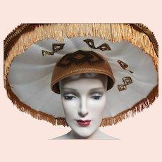 Vintage Large Brim Hat, Femme Fatale, Couture, Unusual, Fun