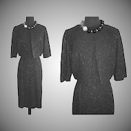 Vintage 1950s Dress . Bolero Jacket . Black .  Hourglass . 50s Party Dress . Cocktail Dress