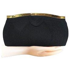 Vintage 1940s Black Corde Gold Clutch, Handbag, Purse, 40s Clutch
