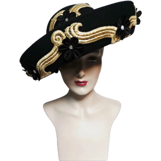 CAPTIVATING Jack McConnell Hat / Black / Gold Braiding Faux Pearls Rhinestones / Detailed / King of Millinery