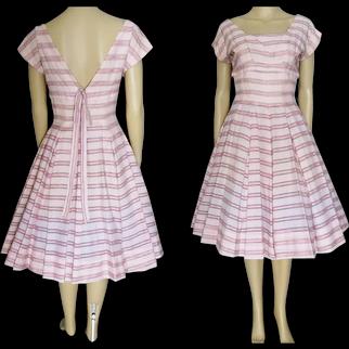 1950s Dress / Vintage 50s Dress / Pink Novelity Print Bias Cut Cotton Semi Full Dress