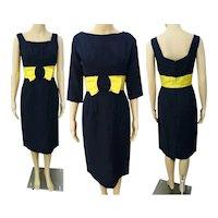 Vintage 1950s Dress Navy Blue With Matching Bolero Jacket Rockabilly 50s Dress