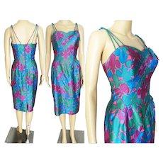 Vintage 50s dress / 1950s dress /Alix of Miami / Vibrant Colors / 1950s Sarong Dress