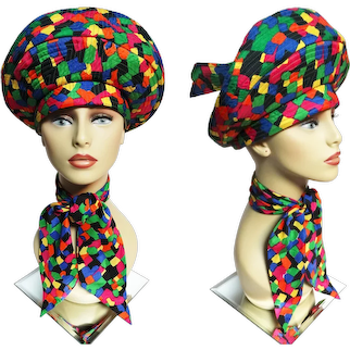 VIBRANT Jack McConnell Hat / Matching Scarf / Multi Colored / King of Millinery