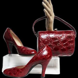 Vintage 1950s Red Alligator Shoes Matching Red Alligator Purse