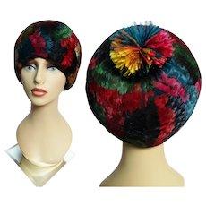 Vintage Jean Artlett DESIGNER FEATHER HAT, Feathered Pom Pom, 1950s Hat