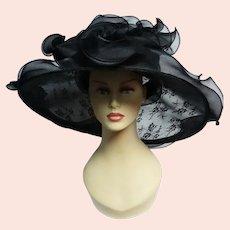 Vintage LARGE BRIM Black HAT, Majestic Ruffle Edges Floral Lace Organza