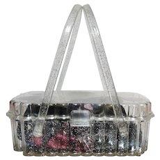 CONFETTI LUCITE PURSE, Gorgeous Glitter Confetti, 1950s Lucite Purse, 50s Era Theresa Bag Company
