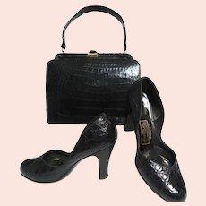Vintage 50s Shoes Matching Purse Set, Black Alligator, 1950s Pumps, Heels, Size 7