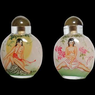 Vintage Chinese Japanese SNUFF BOTTLE, Nude Pinups Both Sides, Original Box