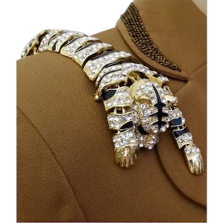 "Unique Rhinestone Tiger Brooch Black Enamel Big Bold Piece 10"" Long $95.00"