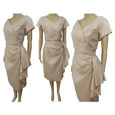 "Vintage 1950s Dress, Pinkish Beige, 50s Sarong Dress Bust 36"""