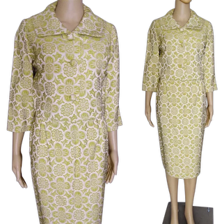 "GLAMOROUS Vintage 1950s Brocade Suit, 50s Mod New Suit, B-36"""