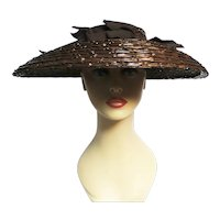 GLAMOROUS 1940'S Open Crown HAT, Original Tag Attached, Never worn NOS