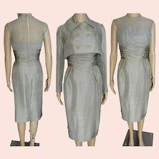 Vintage 1950s Dress Matching Bolero Jacket, Mam'Selle by Betty Carol