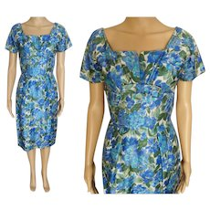Vintage 1950s Wiggle Dress Floral Bias Cut, 50s Hourglass Dress